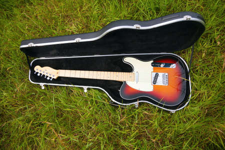 Guitar in case on grass photo
