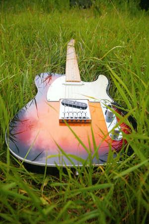 Guitar in grass photo