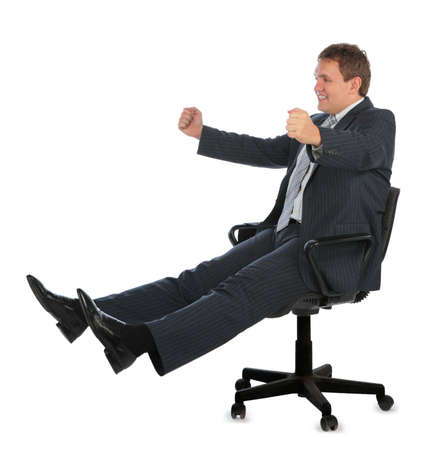 happy driving businessman on chair Stock Photo - 5134761