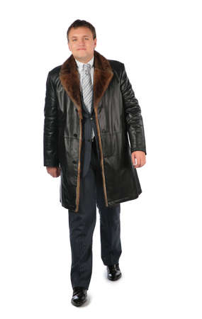 overcoat: Man in leather coat