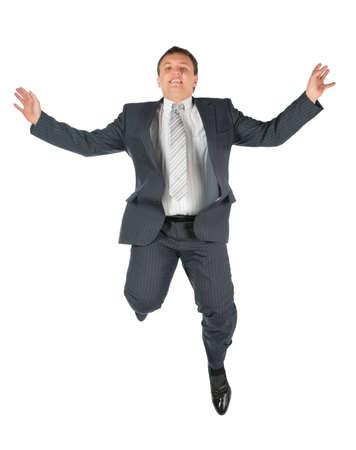 man arm: Flying man in suit