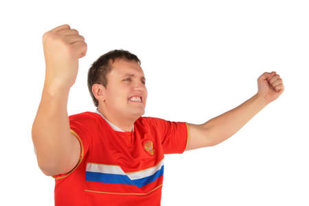 persuasion: sport fan man with hands up Stock Photo
