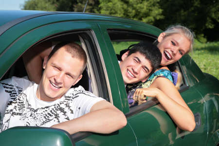 tripping: Friends in car Stock Photo