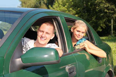 Gay and girl in car Stock Photo - 5201587
