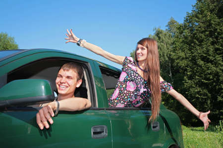 Gay and girl in car Stock Photo - 5201556