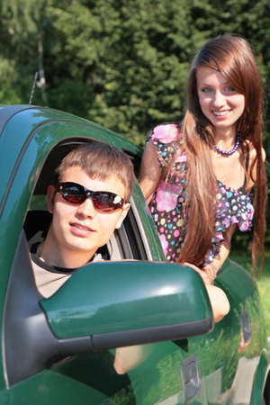 Gay and girl in car Stock Photo - 5239361