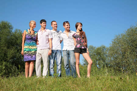Group of friends outdoor in summer Stock Photo - 5239441