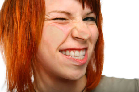 flatten: flatten grimace girl Stock Photo