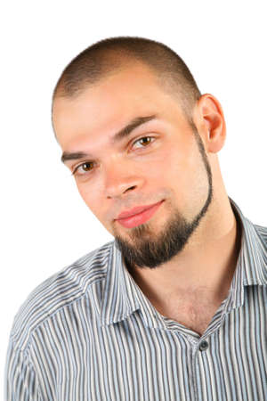 skinhead: Young skinhead beard man isolated on white background