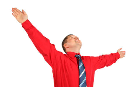 Emotional adult man with hands up isolated on white background photo