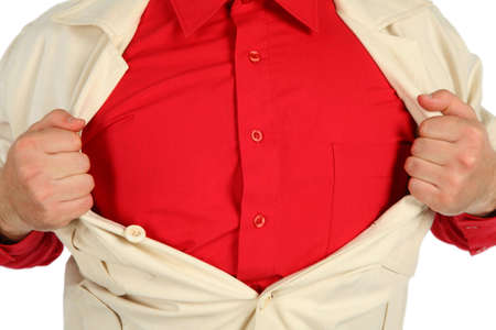 bosom: bosom in a red shirt opened by hands