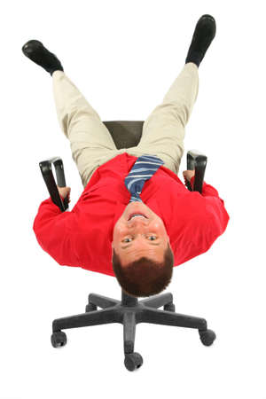 lie forward: Businessman in  red shirt on chair rests upside down