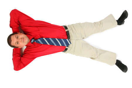 lie forward: Businessman in  red shirt lay on his back