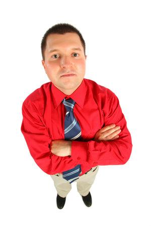 mains crois�es: Homme d'affaires en chemise rouge de ses mains crois�es, vue de dessus