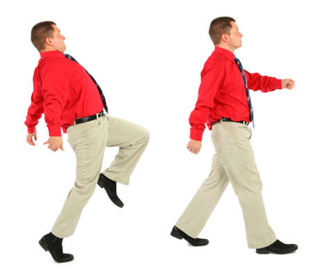 goes: Businessman in red shirt goes Stock Photo