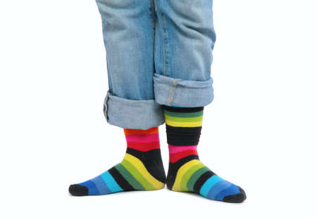 Two feet in multi-coloured socks Stock Photo - 5107444