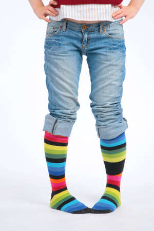 Two feet in multi-coloured socks Stock Photo - 5106959
