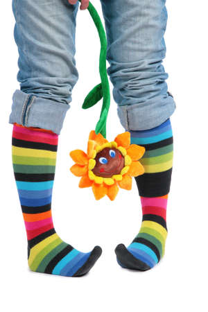 Two feet in multi-coloured socks and sunflower photo