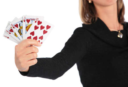 Woman holds   card in hand photo