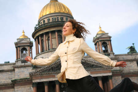 Girl against the Isaakievsky cathedral photo