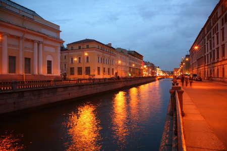 piter: Channel in St.Petersburg in dusk