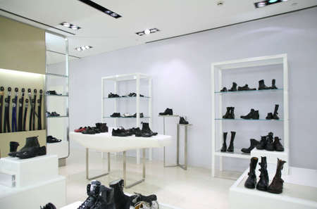 store interior: Division of store with foot-wear and belts
