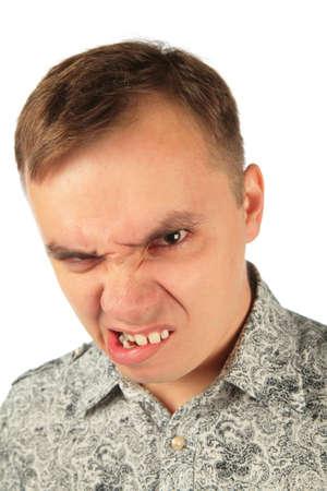 malign: Angry man bites ones lip Stock Photo