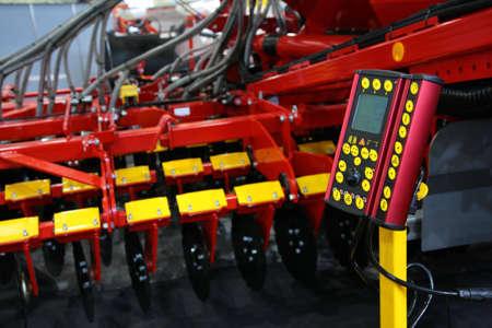 harrow: Control panel of agricultural harrow Stock Photo