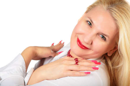 blond middleaged woman with fingers photo