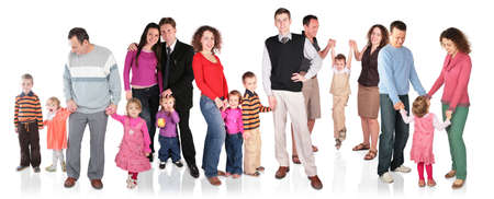 many family with children group isolated photo