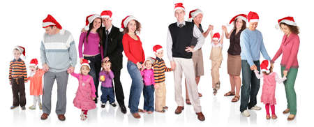 many christmas family with children group isolated photo