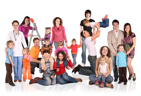 many families with children group isolated collage photo