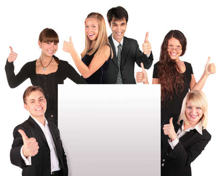 business symbols metaphors: business people group with ok gesture and paper for text Stock Photo