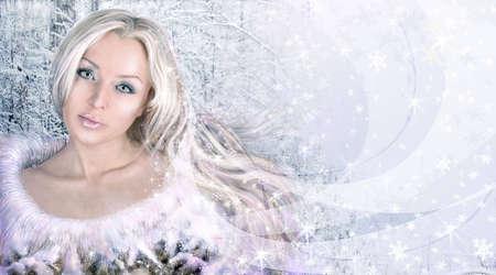 maquillaje de fantasia: invierno mujer collage. versión larga. Foto de archivo