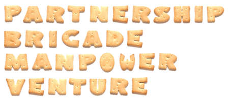 constitute: The words: partnership, brigade, manpower, venture made of cookies  Stock Photo