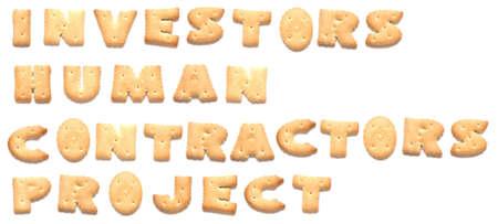constitute: The words: investors, human, contractors, project made of cookies