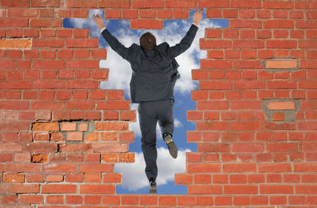 adult wall: The person has jumped through a brick wall