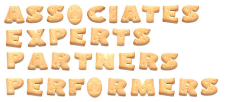 constitute: The words: associates, experts, partners, performers made of cookies  Stock Photo
