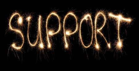 acknowledgement: Word support written sparkler  Stock Photo
