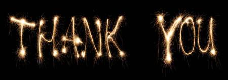sparkler: Thank you written sparkler
