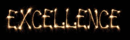 consummation: Word excellence written sparkler