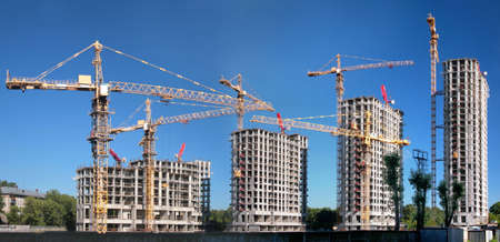 scaffold: Panorama of building of an housing estate