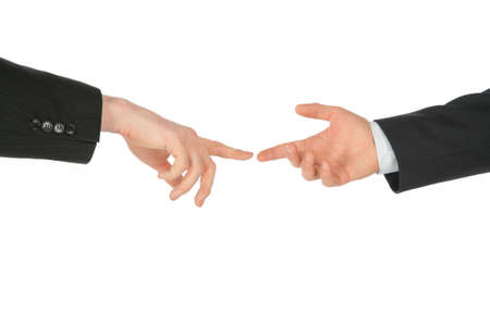 Business hands, touching by fingers Stock Photo - 5360090