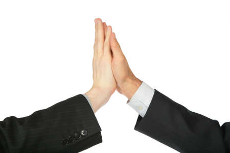 spat: Two hands, which are touched by palms Stock Photo