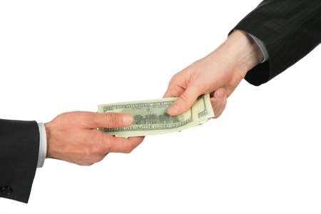 One hand transfers dollars of another Stock Photo - 5321348