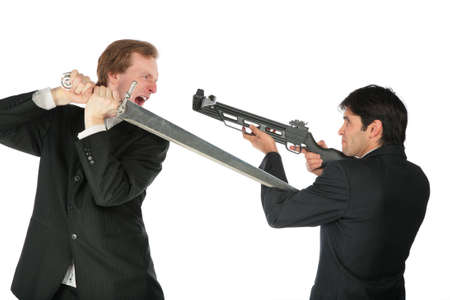 people fighting: Businessmen with sword and crossbow Stock Photo