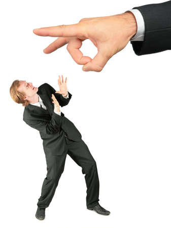 d?a: Asustado de negocios y de la mano da pel�cula de