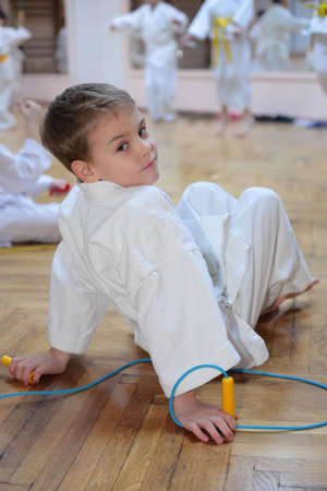 boy in sports hall photo