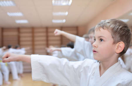 art activity: boy in sports hall is engaged in karate