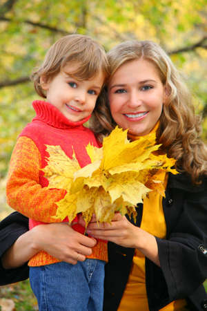 mother with daughter in autumn park Stock Photo - 5368700